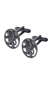 Black Chrome Lion Rampant Cufflinks