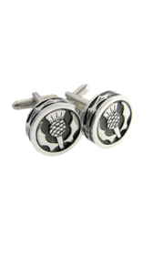 Round Thistle Polished Cufflinks