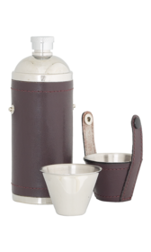 8oz Burgundy Leather Sportsman Flask With Cups