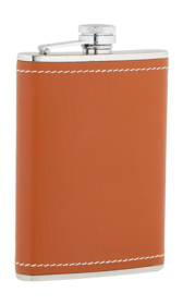 8oz Tan Leather Stainless Steel Flask