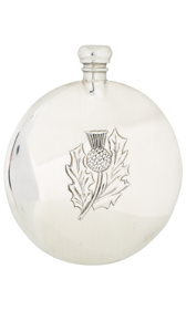 8oz Thistle Sporran  Pewter Flask