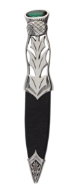 Jura Polished Pewter Dress Sgian Dubh With Stone Top