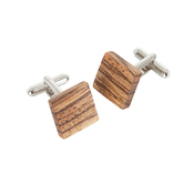 Square Cufflinks - Zebrano Wood