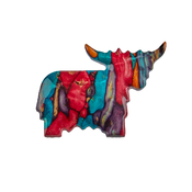 Highland Cow Heather Brooch