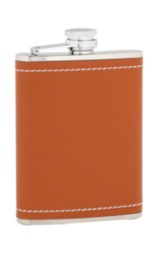 6oz Tan Leather Stainless Steel Flask