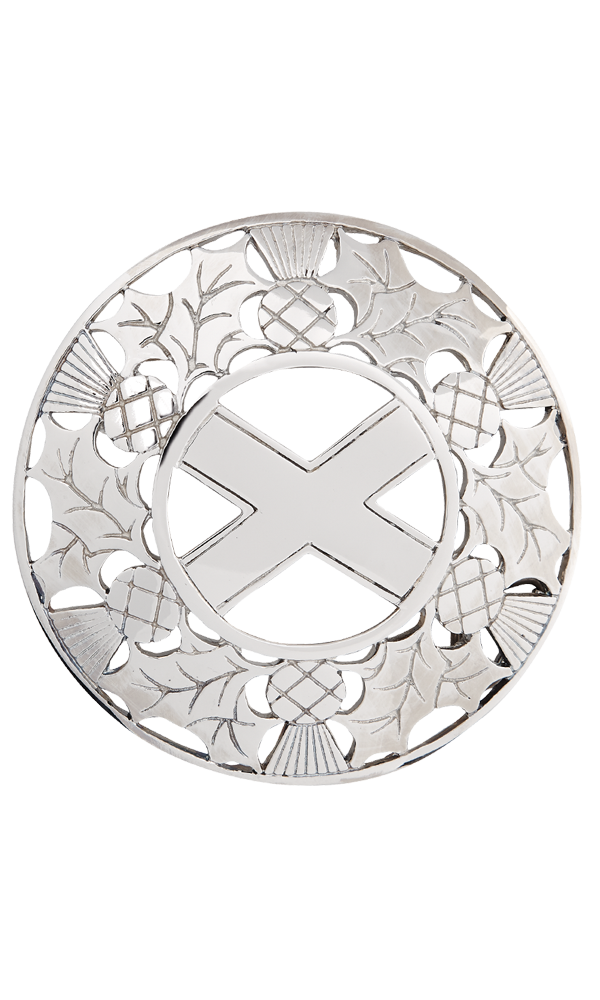 Thistle/saltire Plaid Brooch
