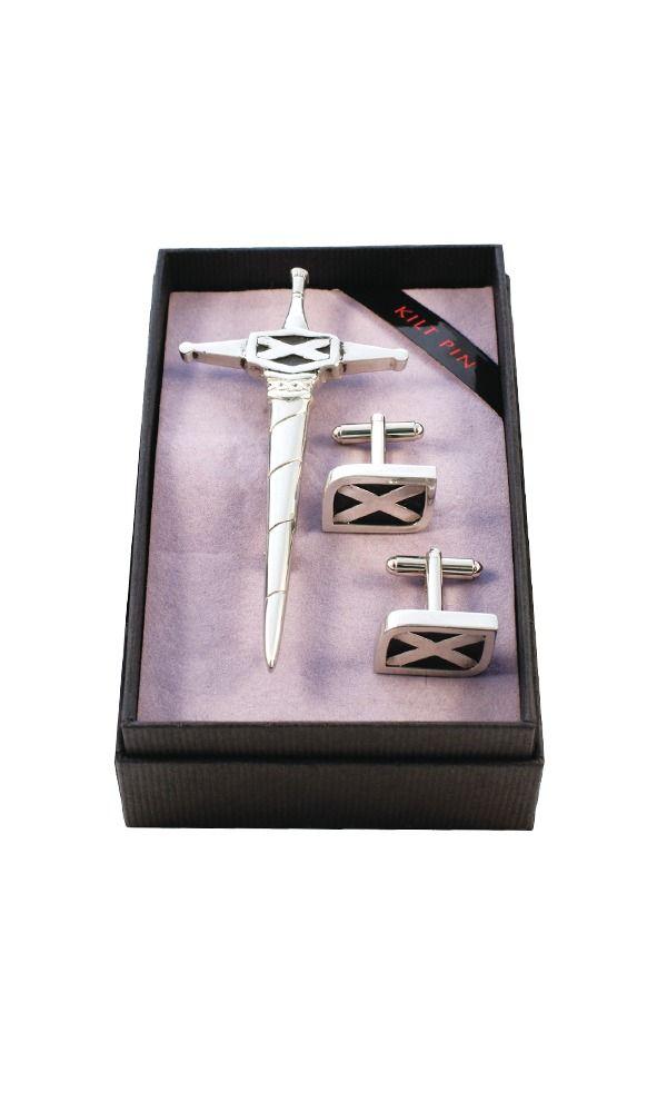 Saltire Kilt Pin & Cufflink Set