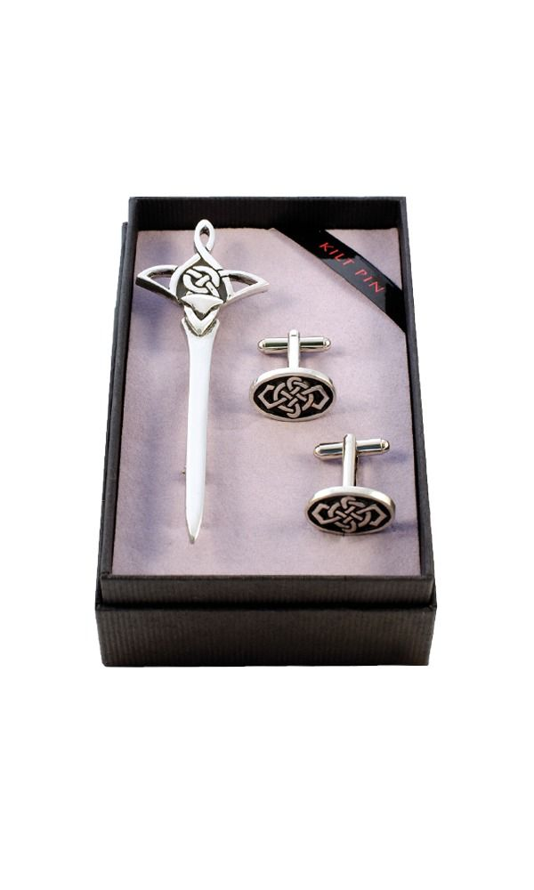 Celtic Knot Kilt Pin & Cufflink Set