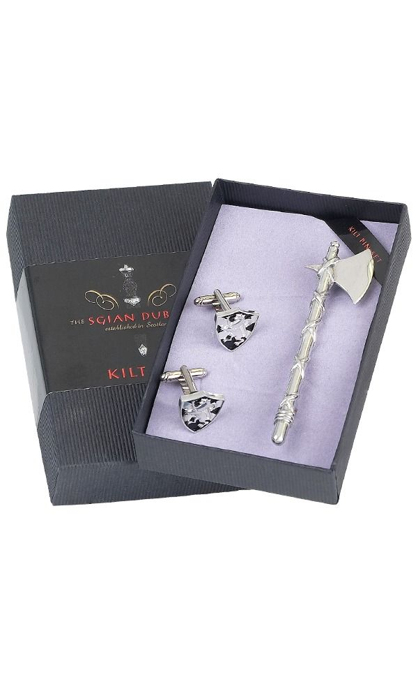 Axe Kilt Pin & Shield Cufflink Set