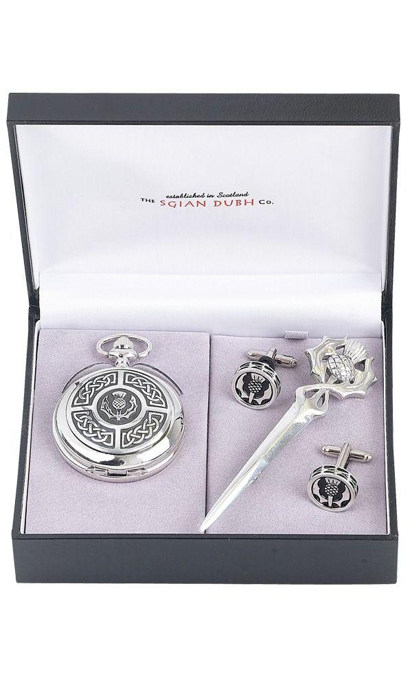 Celtic & Thistle 3 Piece Quartz Pocket Watch Gift Set