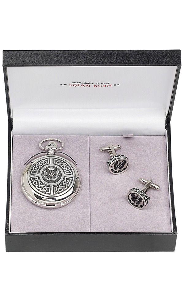 Celtic & Thistle 2 Piece Quartz Pocket Watch Gift Set