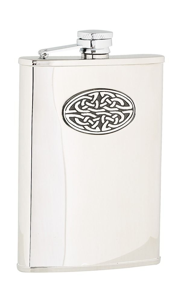 8oz Oval Celtic Stainless Steel Flask