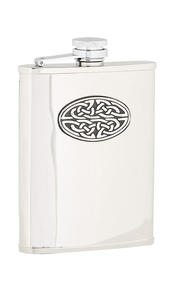 6oz Oval Celtic Stainless Steel Flask