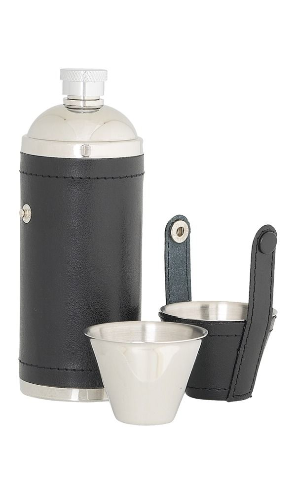 8oz Black Leather Sportsman Flask With Cups