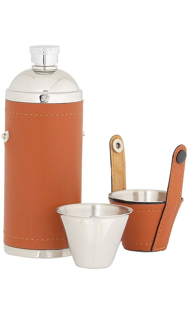 8oz Tan Leather Sportsman Stainless Flask With Cups