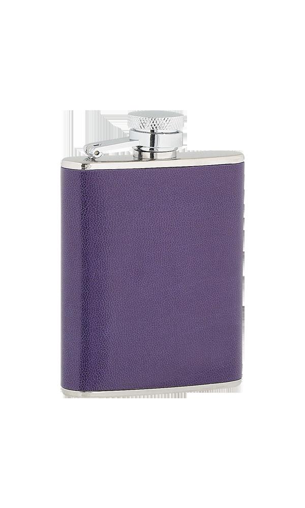 3oz Ladies Purple Leather Stainless Steel Flask
