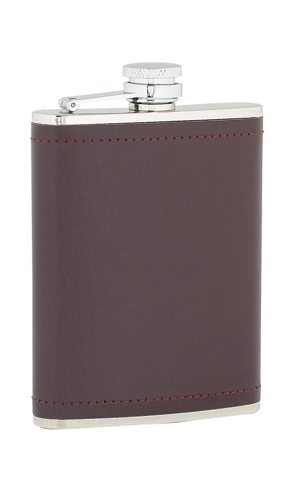 6oz Burgundy Leather Stainless Steel Flask