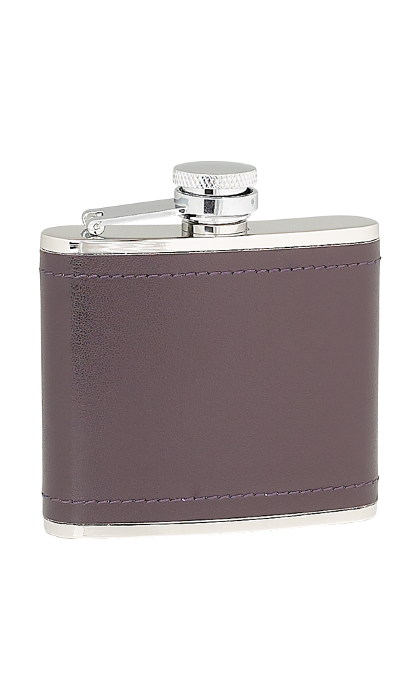 4oz Burgundy Leather Stainless Steel Flask