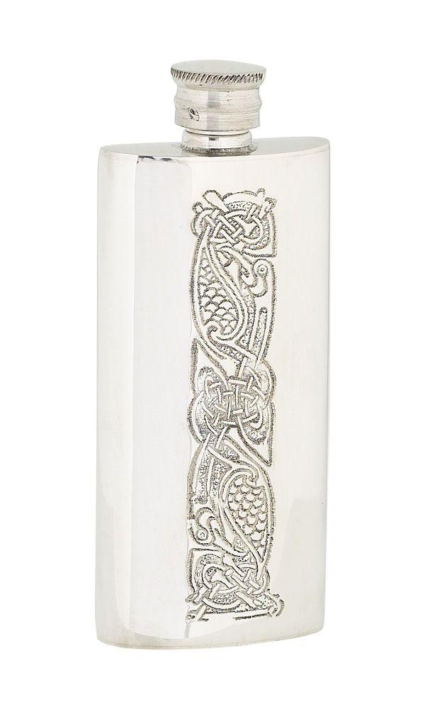 4oz Slim Celtic Pewter Flask
