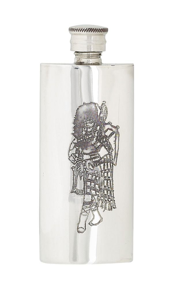 3oz Slim Piper Pewter Flask