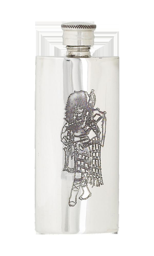 4oz Slim Piper Pewter Flask