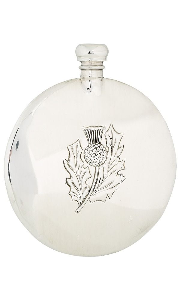 8oz Thistle Sporran  Pewter Flask
