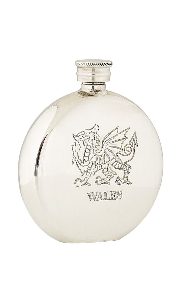 6oz Welsh Dragon Pewter Flask