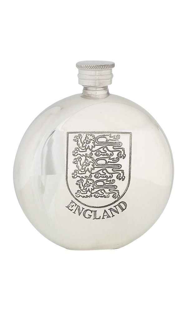 6oz England Three Lions Pewter Flask