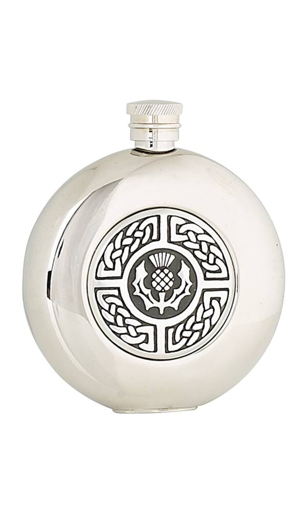 5oz Celtic & Thistle Stainless Steel Flask