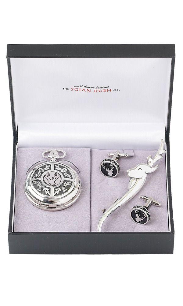 Stag Head 3 Piece Quartz Pocket Watch Gift Set