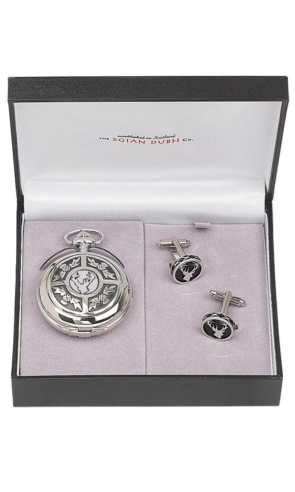Stag Head 2 Piece Quartz Pocket Watch Gift Set