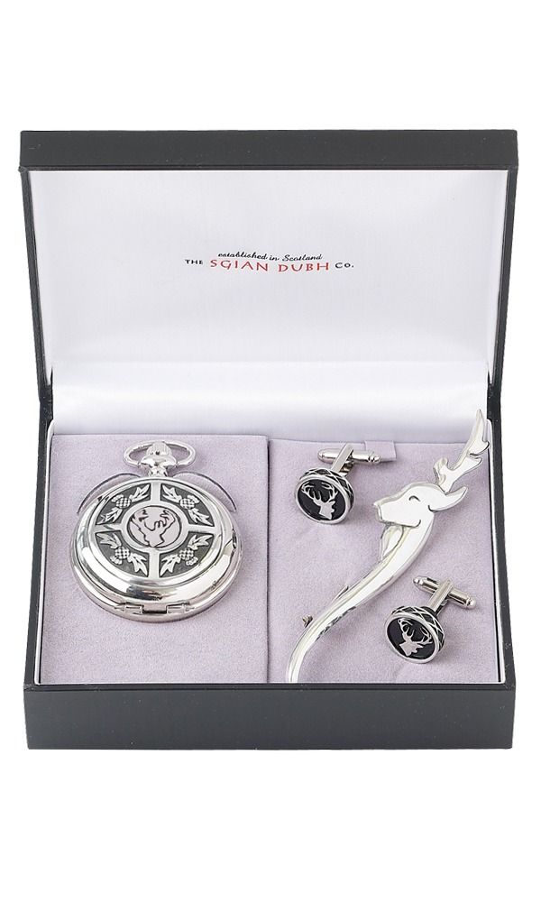 Stag Head 3 Piece Mechanical Pocket Watch Gift Set