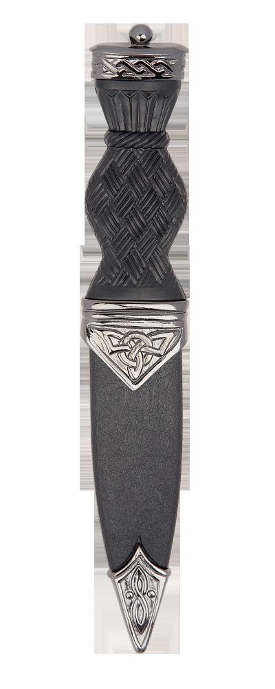 Black Chrome Celtic Sgian Dubh With Plain Top