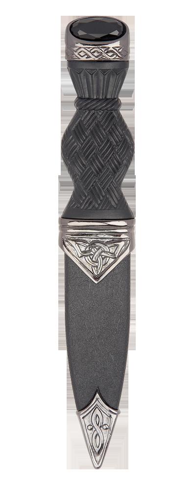 Black Chrome Celtic Sgian Dubh With Stone Top