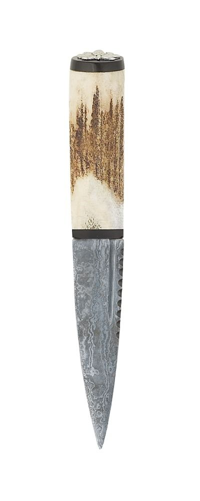 Staghorn Damascus Sgian Dubh Blackwood With Thistle