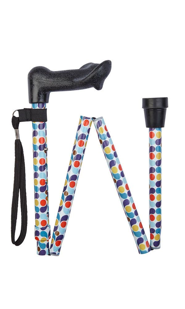 Anatomical Retro Spots Folding Stick (left-hand)