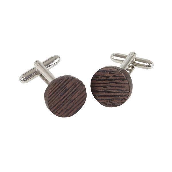 Round Cufflinks - Wenge Wood