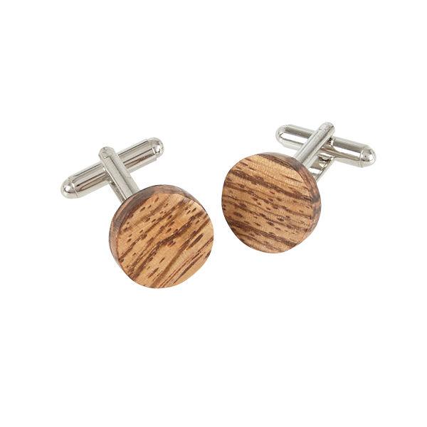Round Cufflinks - Zebrano Wood