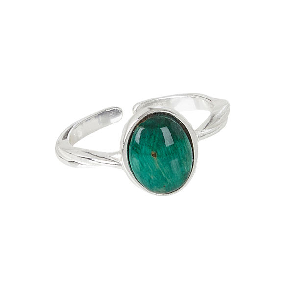 Oval Silver Twisted Ring