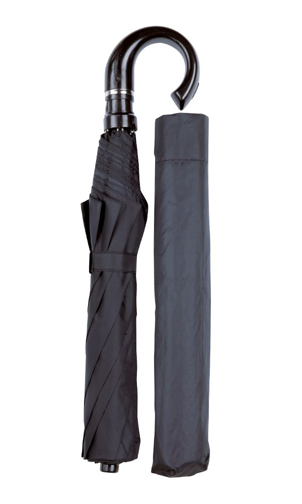Albany Black Crook Folding Umbrella