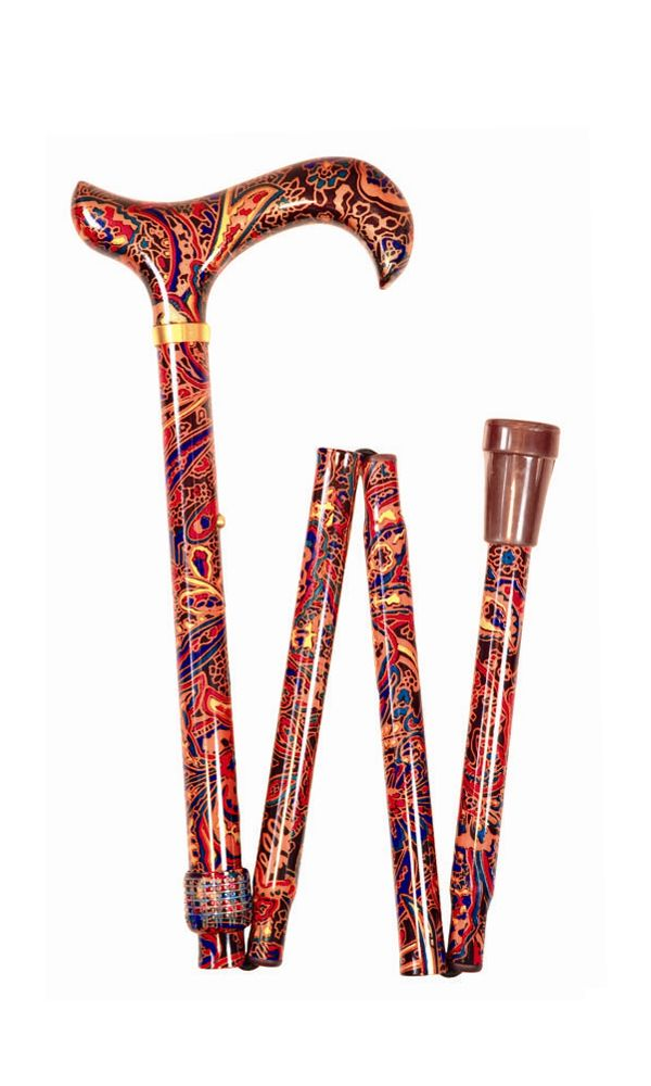 Red Paisley Folding Stick