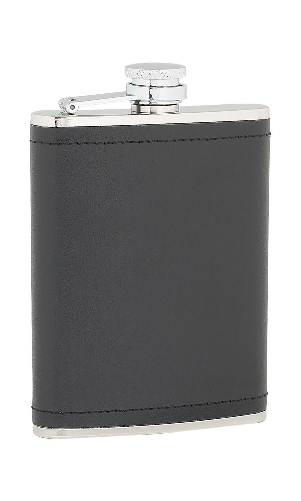 6oz Black Leather Stainless Steel Flask