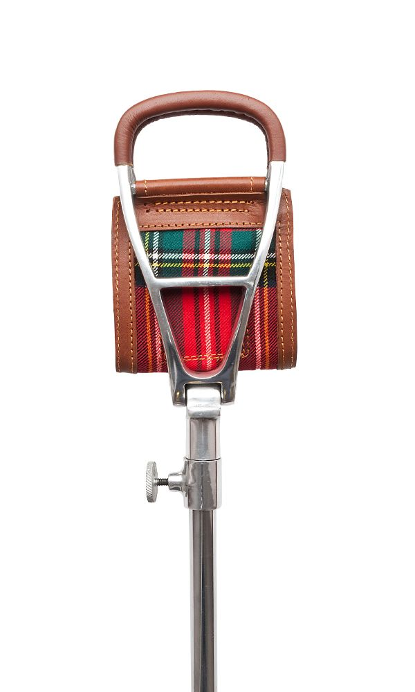 Tartan Leather Adjustable Shooting Stick